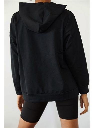 XHAN Siyah Baskılı Kapüşonlu Sweatshirt  Siyah